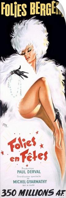 Folies Bergere, Folies en Fetes,Vintage Poster, by Okley