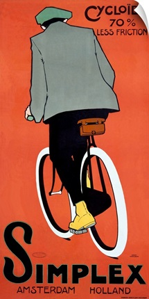 Simplex Bicycle, 1915, Vintage Poster