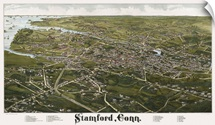 Vintage Birds Eye View Map of Stamford, Connecticut