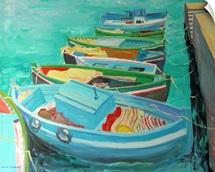 Blue Boats, 2003 (oil on board)