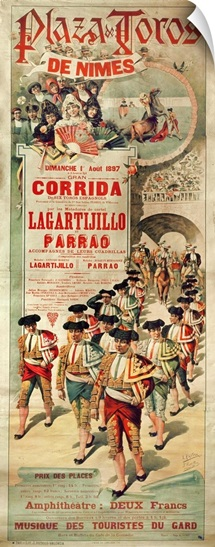 Poster advertising a bullfight at the Plaza de Toros, Nimes, 1st August 1897