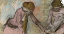 Young girls looking at an album, c.1884 (pastel on paper laid down on card)