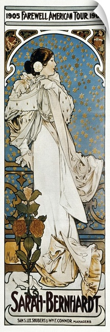 Poster. Farewell American Tour of Sarah Bernhardt. 1905. By Alphonse Maria Mucha