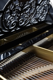 The inside of a piano