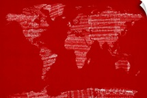 Sheet Music World Map, Red