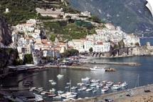 High angle view of a town, Amalfi Coast, Campania, Italy