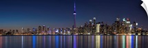 Toronto City Skyline with CN Tower, at Night