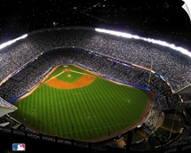 Aerial view of Yankees Stadium during night game for the New York Yankees MLB team.