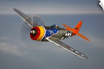 A Republic P 47D Thunderbolt in flight