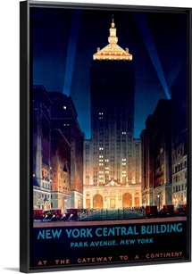 New York Central Building, Park Avenue, 1930,Vintage Poster, by Chesley Bonestell