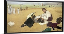 Beach scene: little girl having her hair combed by her nanny, c.1876 77 (oil on paper)