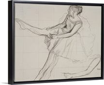 Dancer adjusting her tights, c.1880 (pencil and charcoal on paper)