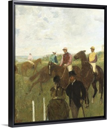 Jockeys at the Racecourse (oil on paper laid down on board)