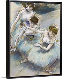 Three Dancers in a Diagonal Line on the Stage, c.1882 (pastel)