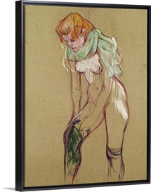 Woman Pulling Up her Stocking, 1894 (oil on card)