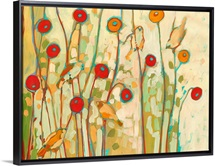 Five Little Birds Playing Amongst the Poppies No 2