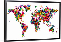 World Map Hearts, Multicolor on White