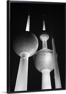 Low angle view of communications towers, Kuwait Towers, Kuwait City, Kuwait
