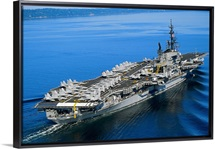 Aircraft carrier in calm water