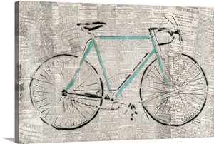bicycle on news photo canvas print great big canvas. Black Bedroom Furniture Sets. Home Design Ideas