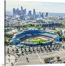 Aerial View of the Dodgers Stadium with the Los Angeles Skyline in the distance
