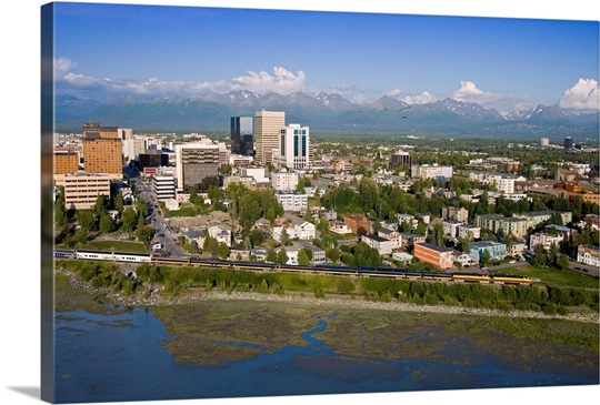 Aerial of Downtown Anchorage with Chugach Mtns in distance, Southcentral Alaska Summer