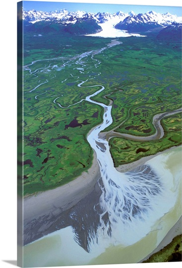 Aerial of Ibeck Creek and Scott Glacier, Copper River Delta, Southcentral Alaska