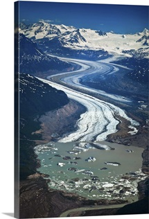 Aerial of Rohn Glacier flowing into Nizina Glacier Wrangell St. Elias National Park