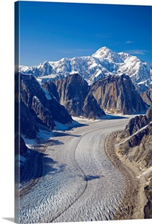 Aerial view of Great Gorge and Ruth Glacier below Mt.McKinley Alaska Range, Denali