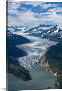 Aerial view of Mendenhall Glacier, Juneau Icefield to Mendenhall Lake in Tongass