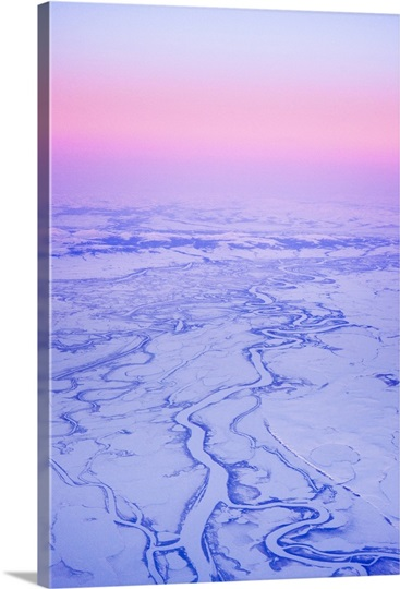 Aerial view of the Kobuk River and Waring Mountains just before sunrise