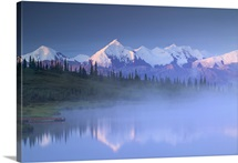 Alaska Range over Wonder Lake in Morning Mist Denali National Park during Summer