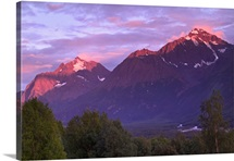 Alpenglow on Chugach Mtns in Evening SC AK Summer Eagle River Valley Eagle & Polar Bear Peak