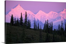 Alpenglow on Mt Brooks and AK Range Denali