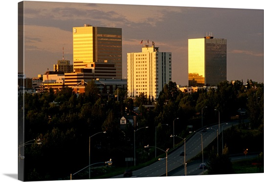 Anchorage Skyline and Minnesota Drive Alaska