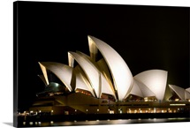 Australia, Sydney, A Night Scene Looking Across Sydney Harbor To The Iconic Opera House