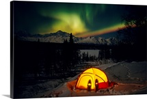 Camper's Tent Under The Northern Lights, Interior, Alaska