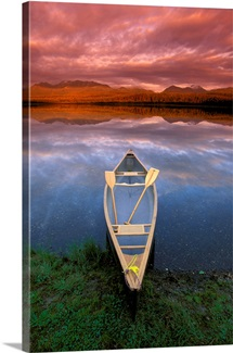 Canoe on Otter Lake Evening Light Southcentral Alaska Summer Scenic