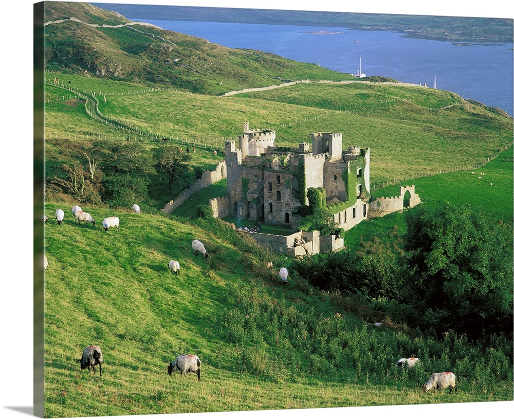 Premium Thick Wrap Canvas Wall Art Entitled Clifden Castle Co Galway Ireland