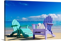 Colorful Beach Chairs On Beach, Calm Waves Washing Ashore