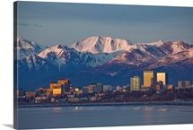 Downtown Anchorage Skyline, Spring, Southcentral Alaska