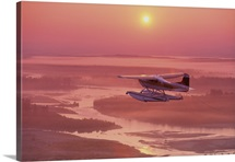 Floatplane Flying @ Sunset Matanuska Valley SC AK Summer