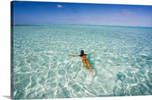 French Polynesia, Tahiti, Bora Bora, Woman Enjoy A Day In The Ocean