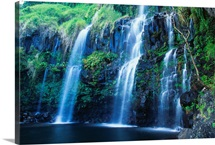 Hawaii, Maui, Hana Coast, Waterfall Flows Into Blue Pool