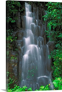 Hawaii, Maui, Hana Highway, Cascading Waterfall In Lush Tropical Rainforest