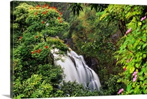 Hawaii, Maui, Hana, Waterfall Surrounded By Tropical Flowers And Plants