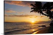 Hawaii, Maui, Kaanapali Resort, Sunset With Beach And Palm Trees