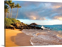 Hawaii, Maui, Makena, Secret Beach At Sunset
