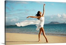 Hawaii, Oahu, Lanikai Beach, Ballet Dancer On Beach Wearing White Flowing Fabric