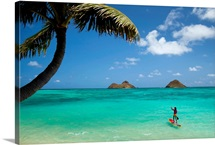 Hawaii, Oahu, Lanikai Beach, Female Stand Up Paddler On Her Way To The Mokulua Islands